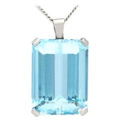 18.27 Carat Aquamarine and Platinum Pendant