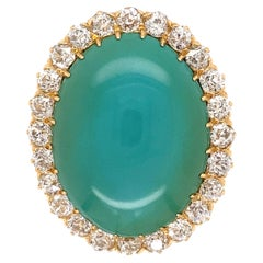 18.29 Carat Turquoise and Diamond Gold Cocktail Ring Estate Fine Jewelry