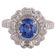 1.83 Carat Blue Sapphire and Diamond Ring in 18 Karat White Gold