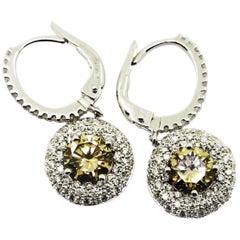 1.83 Carat Brown Diamonds and White Diamond Pavè Dangle Earrings