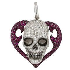 1.83 Carat Diamond Pave Ruby Heart Skull Pendant 18 Karat in Stock