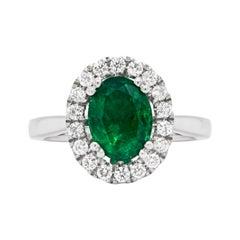 1.83 Carat Emerald and Diamond Platinum Cluster Engagement Ring