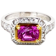 1.83 Carat GRS Certified Unheated Vivid Pink Sapphire and Diamond Gold Ring