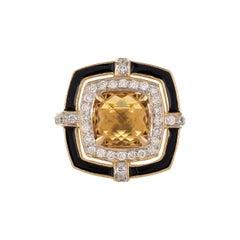 1.83 Carat Honey Quartz Cushion Briolette Diamond Enamel 18 Karat Gold Ring