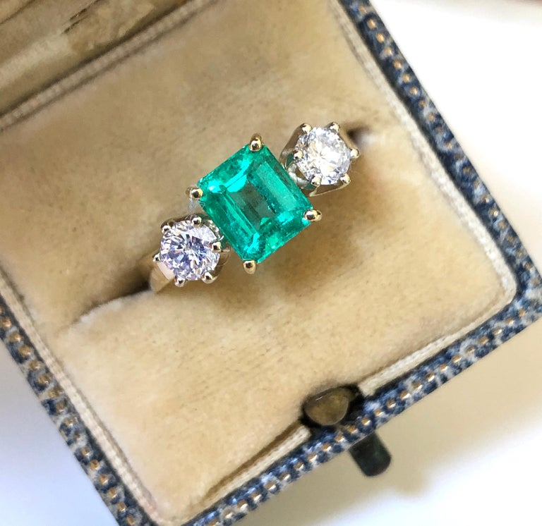 Emerald Cut 1.83 Carat Natural Colombian Emerald and Diamond Three-Stone Ring 18 Karat For Sale