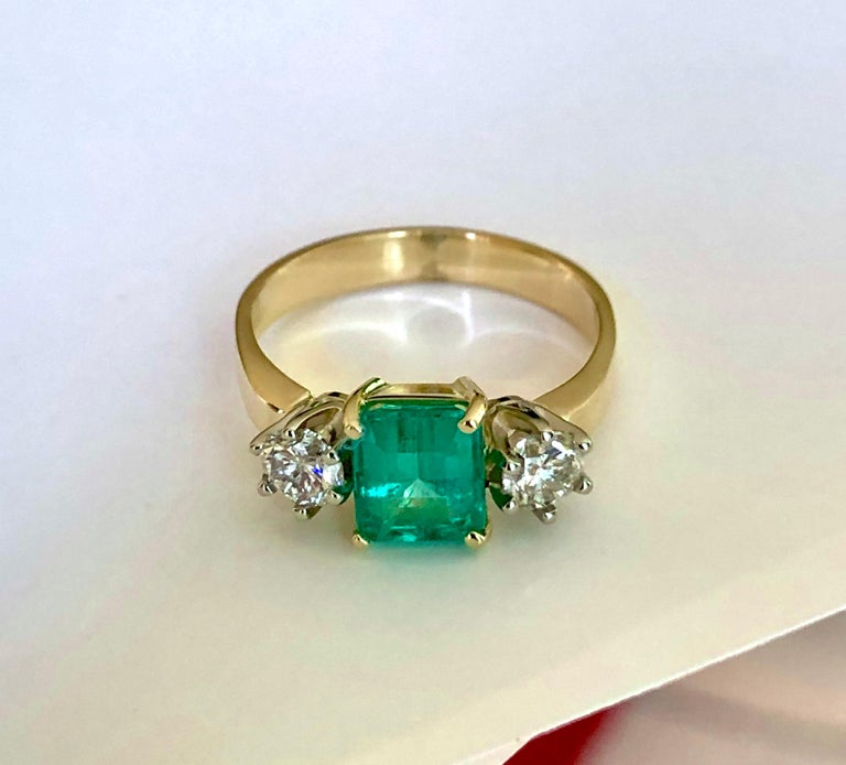 1.83 Carat Natural Colombian Emerald and Diamond Three-Stone Ring 18 Karat In New Condition For Sale In Brunswick, ME