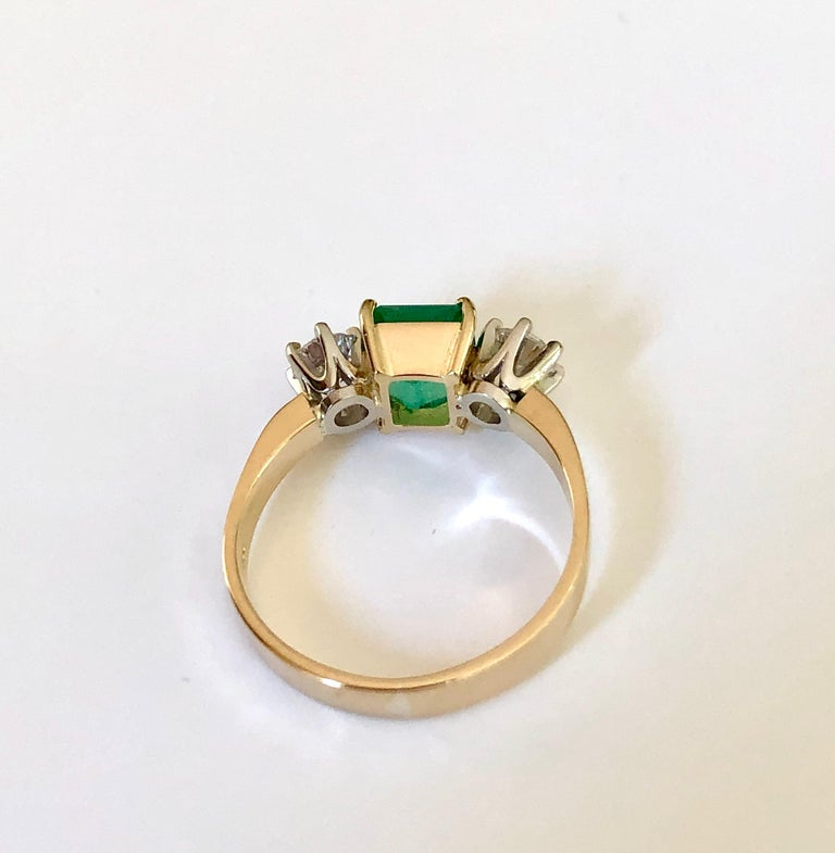 Women's 1.83 Carat Natural Colombian Emerald and Diamond Three-Stone Ring 18 Karat For Sale
