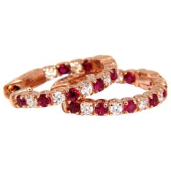 1.83 Carat Natural Vivid Red Ruby Diamond Hoop Earrings 14 Karat Rose Gold