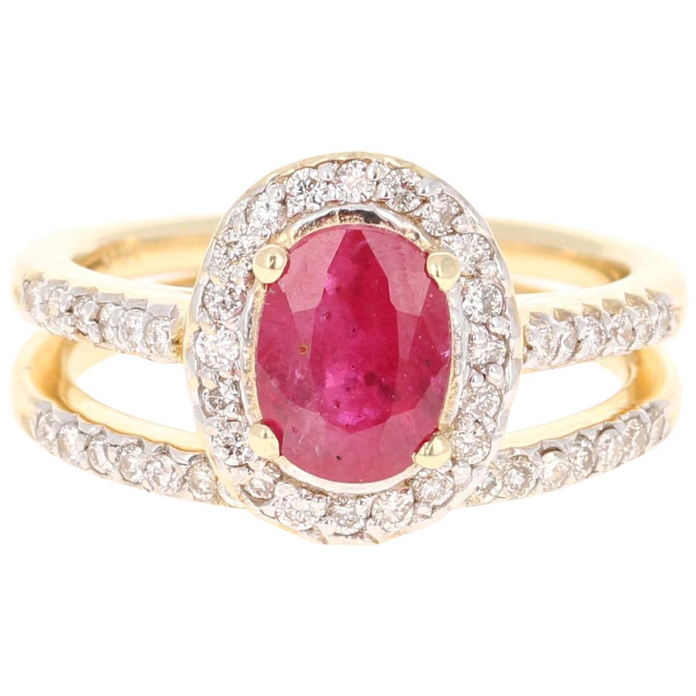 1.83 Carat Oval Cut Ruby Diamond 14 Karat Yellow Gold Engagement Ring and Band