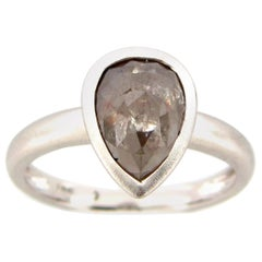 1.83 Carat Rose Cut Pear Gray White Diamond Ring