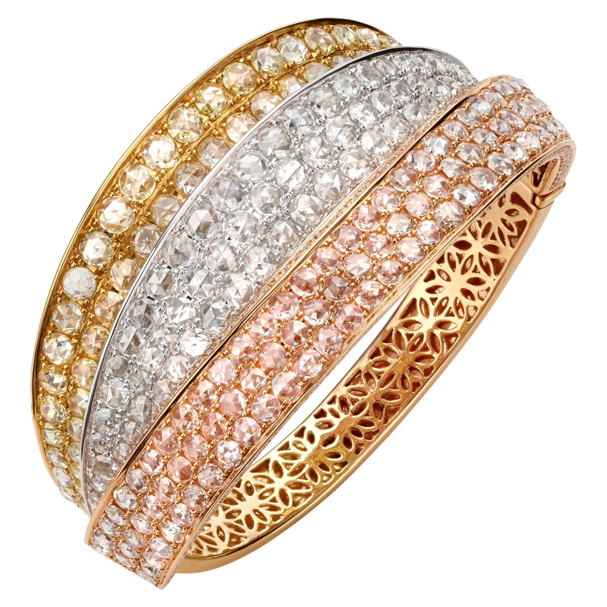 18.3 Carat Rose Cut Round Diamond 18 Karat Tricolor Gold Cuff Bangle