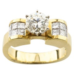 1.83 Carat Round Brilliant Diamond 14 Karat Yellow Gold Engagement Ring
