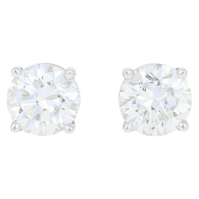 1.83 Carat Round Brilliant Diamond Earrings, 18 Karat White Gold Pierced Studs