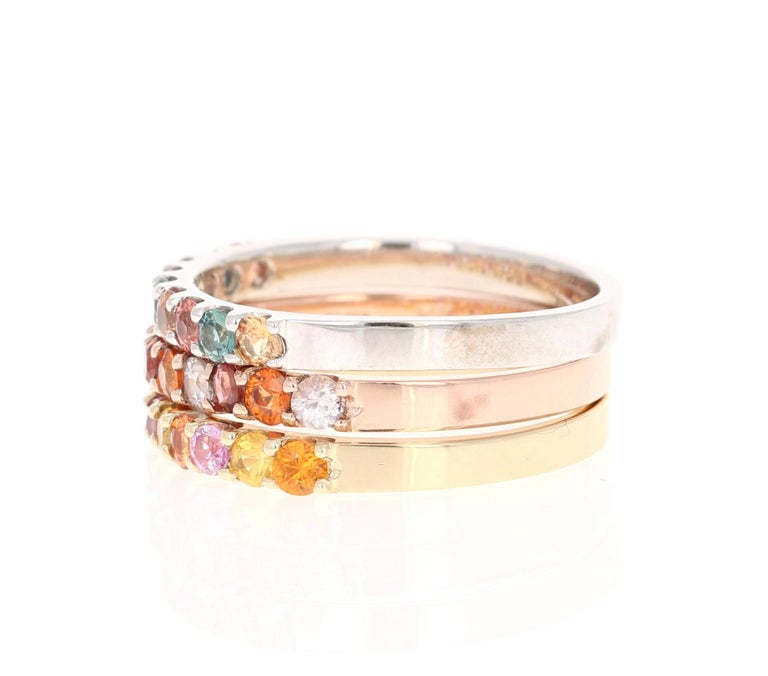 Modern 1.83 Carat Round Cut Multicolored Sapphire 14 Karat Gold Stackable Bands For Sale