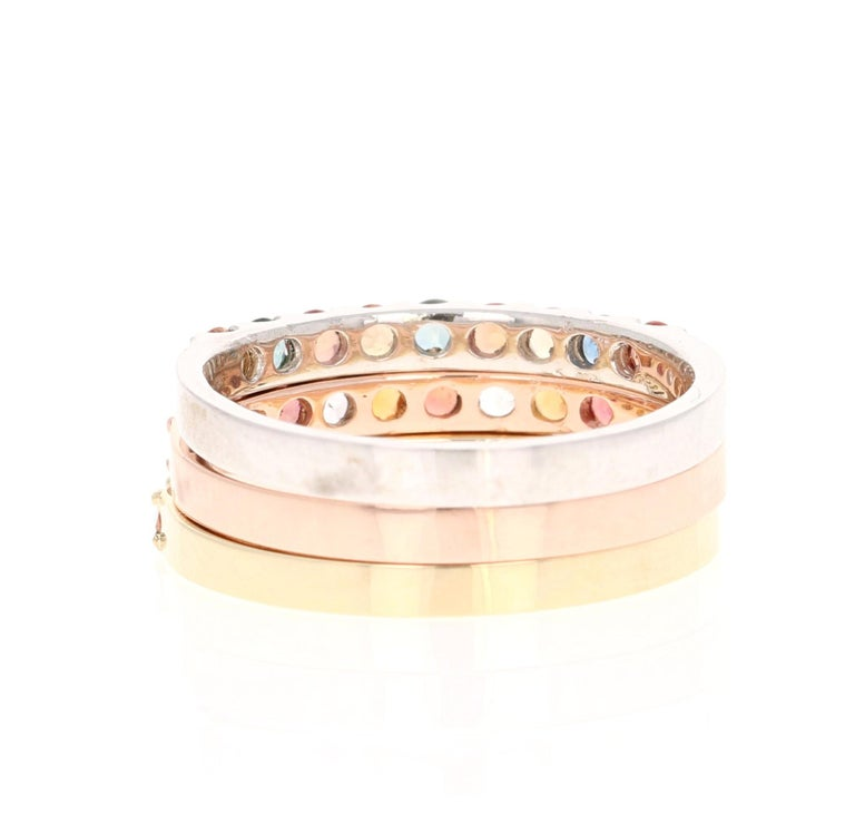 1.83 Carat Round Cut Multicolored Sapphire 14 Karat Gold Stackable Bands In New Condition For Sale In San Dimas, CA