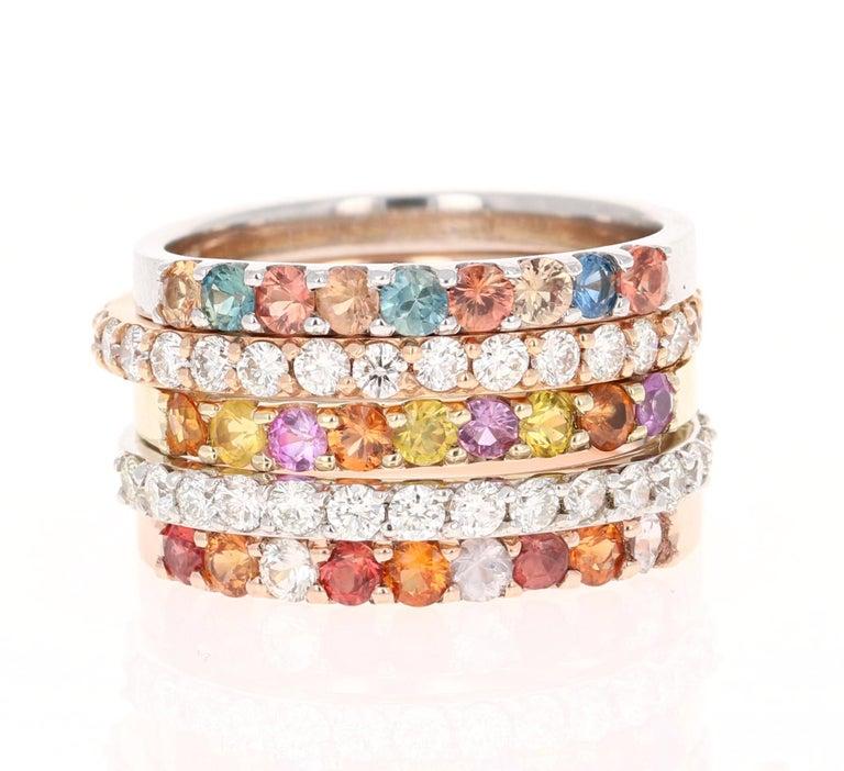 Women's 1.83 Carat Round Cut Multicolored Sapphire 14 Karat Gold Stackable Bands For Sale