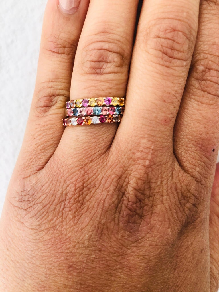 1.83 Carat Round Cut Multicolored Sapphire 14 Karat Gold Stackable Bands For Sale 1