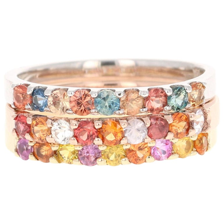 1.83 Carat Round Cut Multicolored Sapphire 14 Karat Gold Stackable Bands For Sale
