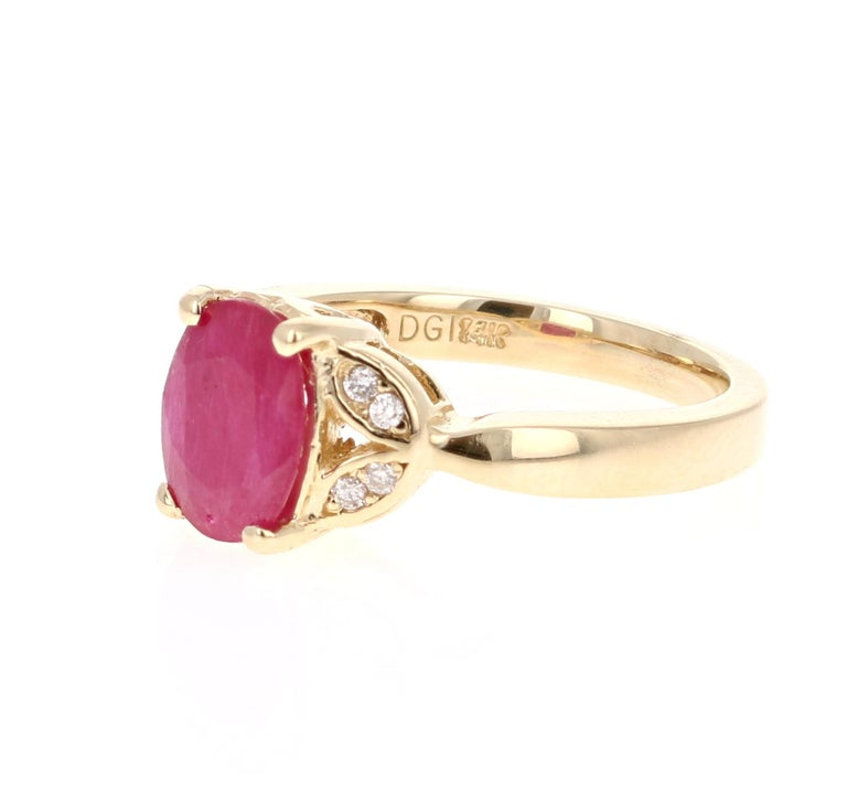 Modern 1.83 Carat Ruby Diamond 14 Karat Yellow Gold Ring For Sale