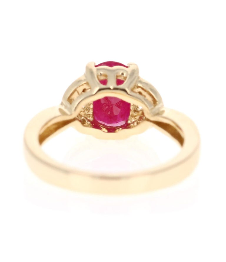 Oval Cut 1.83 Carat Ruby Diamond 14 Karat Yellow Gold Ring For Sale