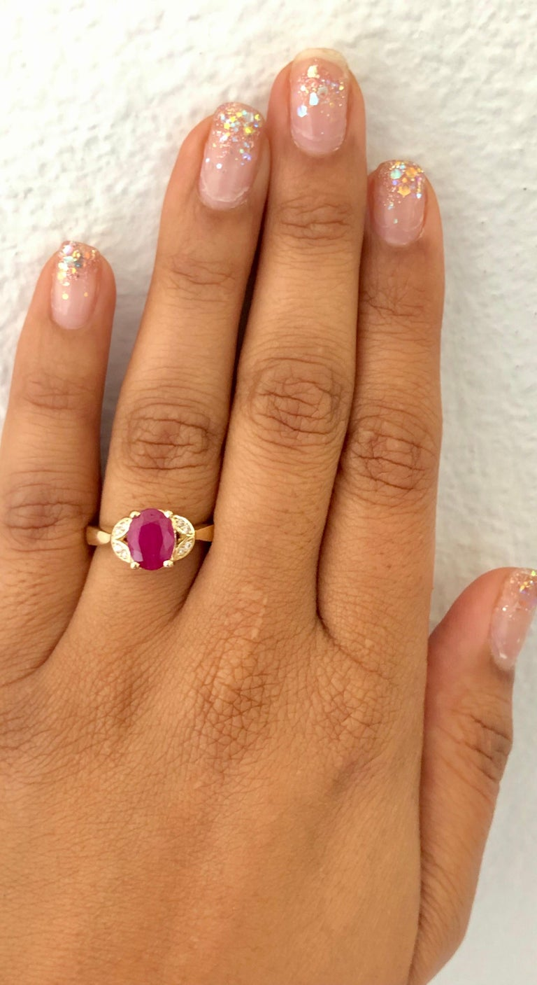 1.83 Carat Ruby Diamond 14 Karat Yellow Gold Ring In New Condition For Sale In Los Angeles, CA