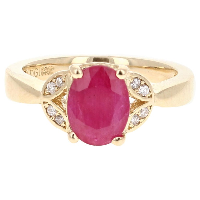 1.83 Carat Ruby Diamond 14 Karat Yellow Gold Ring For Sale