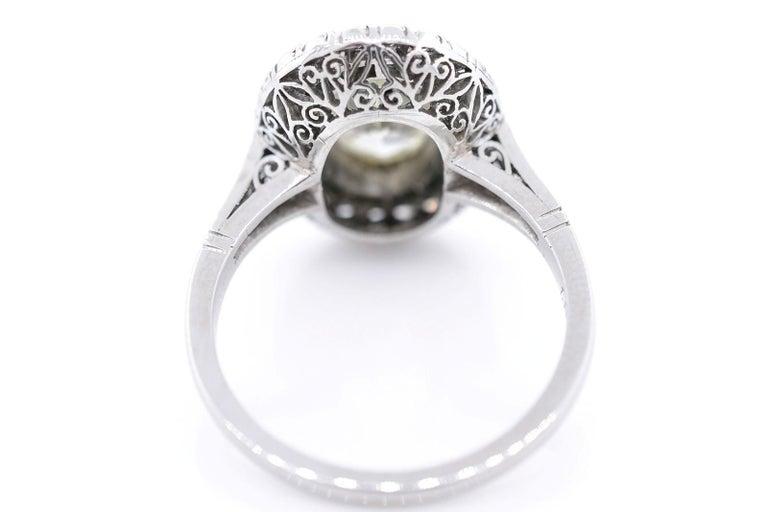 Art Deco 1.83 Carat Transitional Cut Diamond Platinum Ring For Sale
