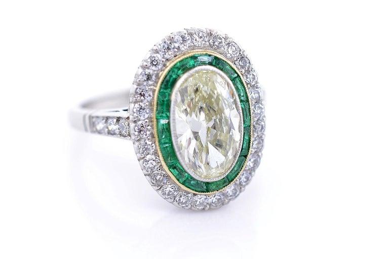 Oval Cut 1.83 Carat Transitional Cut Diamond Platinum Ring For Sale