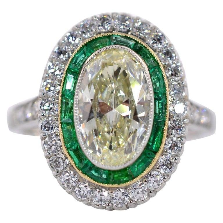 1.83 Carat Transitional Cut Diamond Platinum Ring For Sale