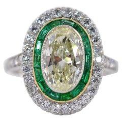 1.83 Carat Transitional Cut Diamond Platinum Ring