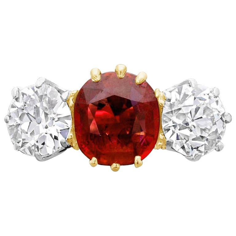 1.83 Carat Vintage Old Burmese Ruby and Old Cut Diamond Three-Stone Ring