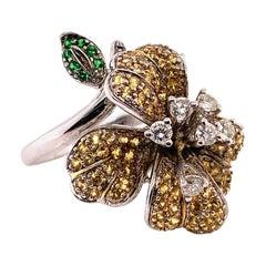 1.83 Carat Yellow Sapphire, Green Tsavorite and Diamond Floral Ring
