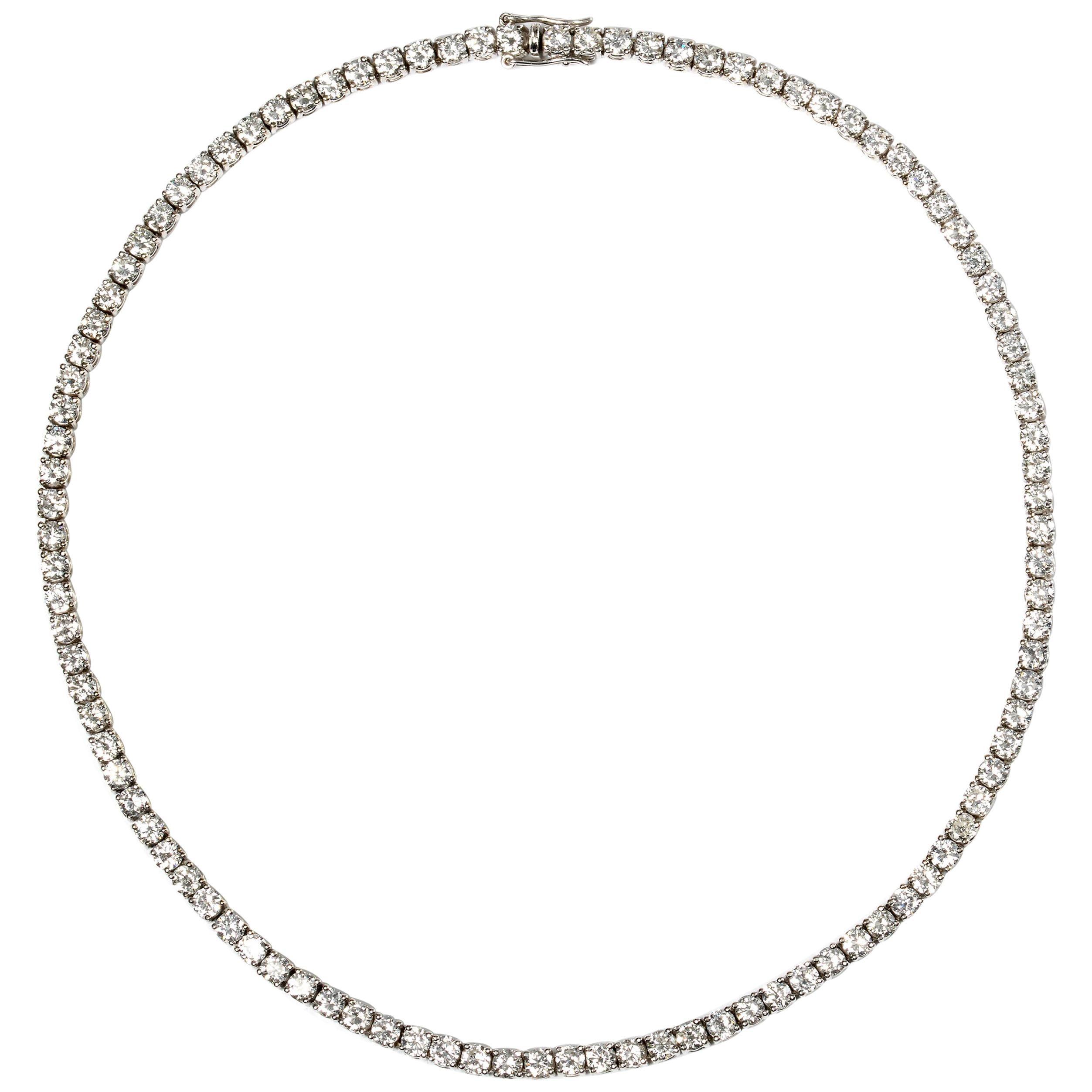18.30 Carat Diamond Riviere Necklace