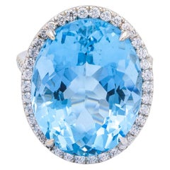 18.30 Carat Natural AGL Certified Blue Oval Aquamarine and Diamond Ring