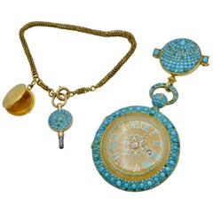 1830 Turquoise Lapel Gold Pocket Watch Bautte and Co with Chain and Locket