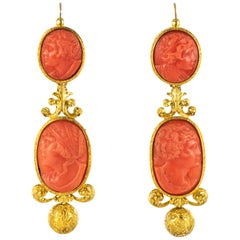 1830s Coral Cameo 18 Karat Yellow Gold Dangle Earrings