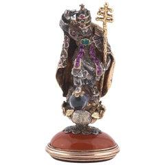 1830s Emerald Ruby Rock Crystal Silver Gold Bishop Desk Seal