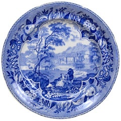 1830s English Blue and White Transferware with Bucolic Scene and Family