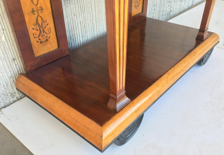 1830s French Empire Marquetry Console Table in Rosewood and Maple For Sale 5