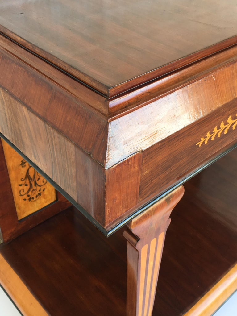 1830s French Empire Marquetry Console Table in Rosewood and Maple For Sale 8
