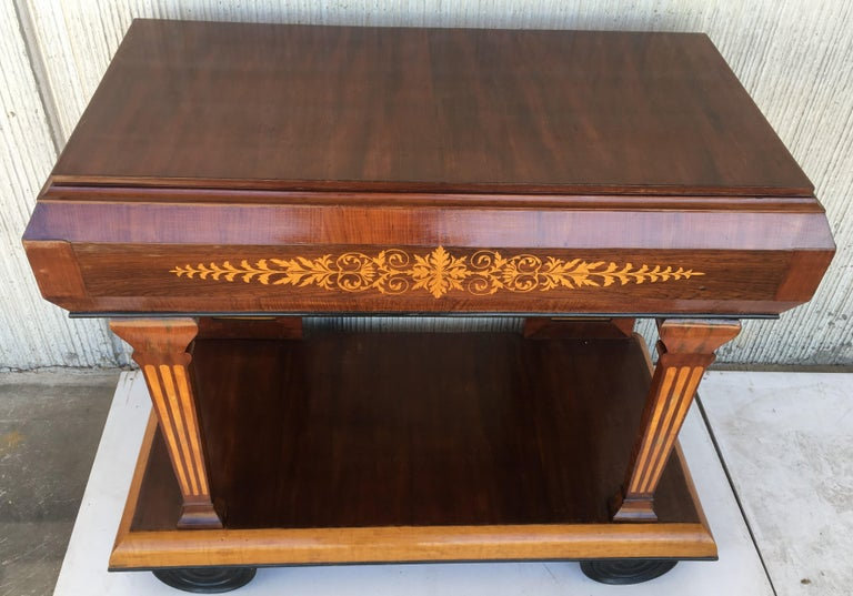 1830s French Empire Marquetry Console Table in Rosewood and Maple For Sale 9