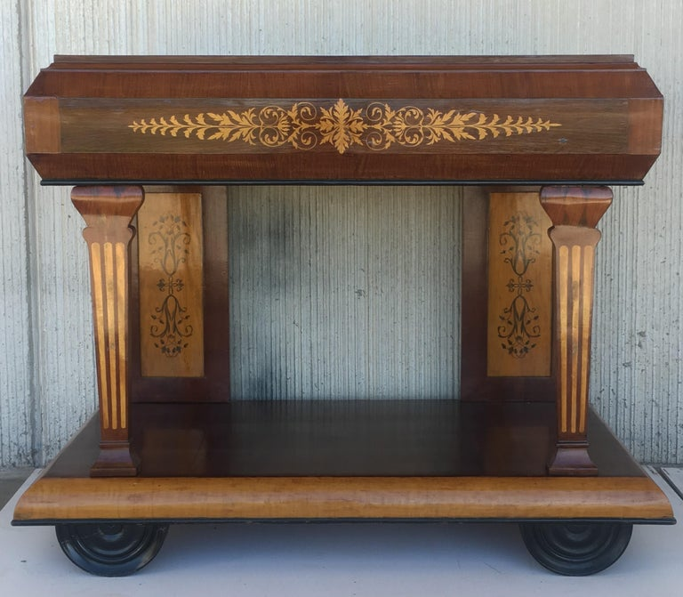 Charles X 1830s French Empire Marquetry Console Table in Rosewood and Maple For Sale