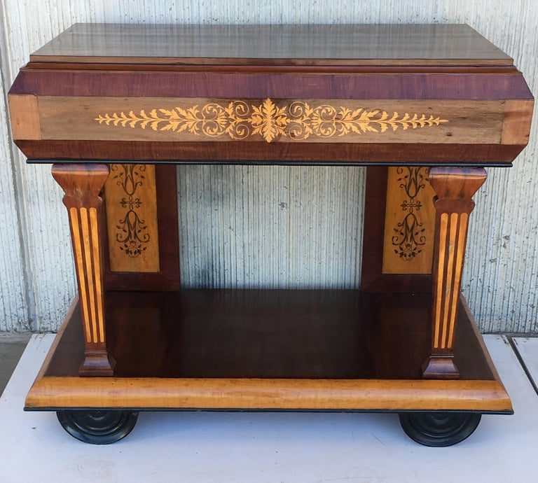 1830s French Empire Marquetry Console Table in Rosewood and Maple In Good Condition For Sale In Miami, FL