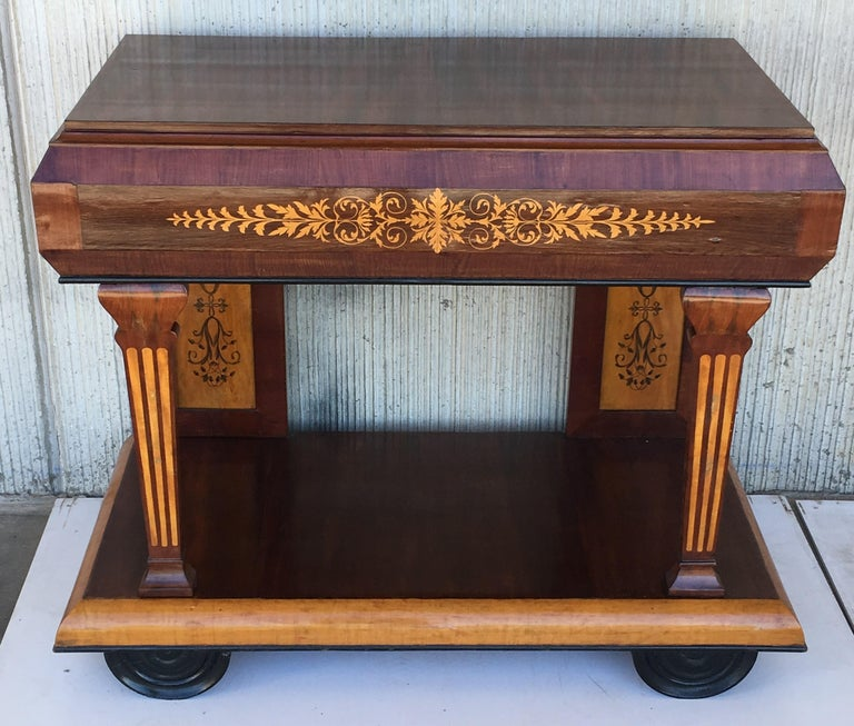 19th Century 1830s French Empire Marquetry Console Table in Rosewood and Maple For Sale