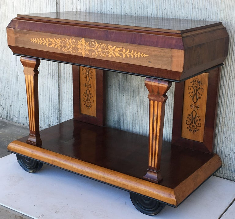 1830s French Empire Marquetry Console Table in Rosewood and Maple For Sale 1