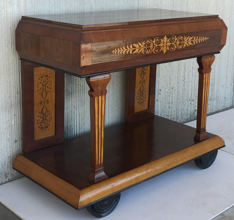 1830s French Empire Marquetry Console Table in Rosewood and Maple For Sale 2