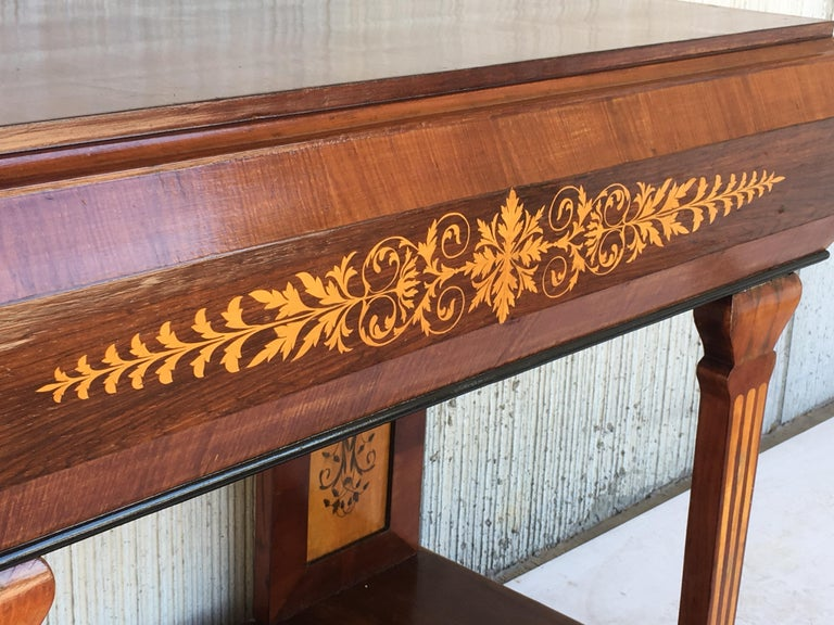1830s French Empire Marquetry Console Table in Rosewood and Maple For Sale 3