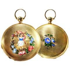 """1830s Patek Hunting Case Enamel """"Flower Girl"""" Motif 18 Karat YG Pocket Watch"""