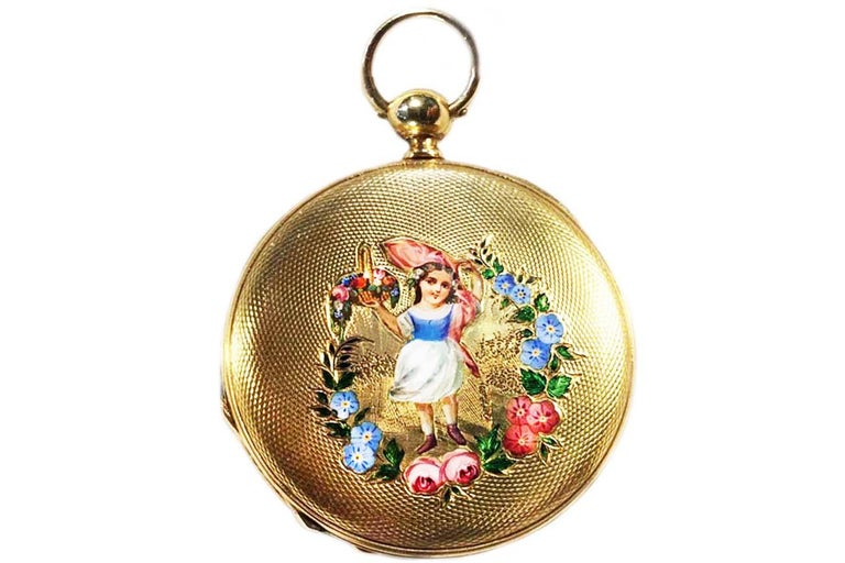 "A Heavy & Very Early Rare 1830s Enamel Patek Hunting Case With ""Flower Girl"" Motif pocket watch, 42mm Key Wind Key Set  One of the firms first creations at the very start of the Patek Workshop with a gorgeous Enamel Roman Numeral Dial, Fancy Hands,"