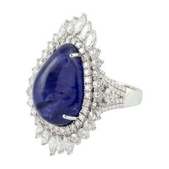 18.33 Carat Tanzanite 18 Karat White Gold Diamond Ring